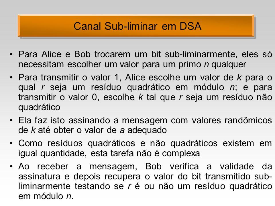 Canal Sub-liminar em DSA Para Alice e Bob trocarem um bit sub-liminarmente, eles só necessitam escolher um valor para um primo n qualquer Para transmi