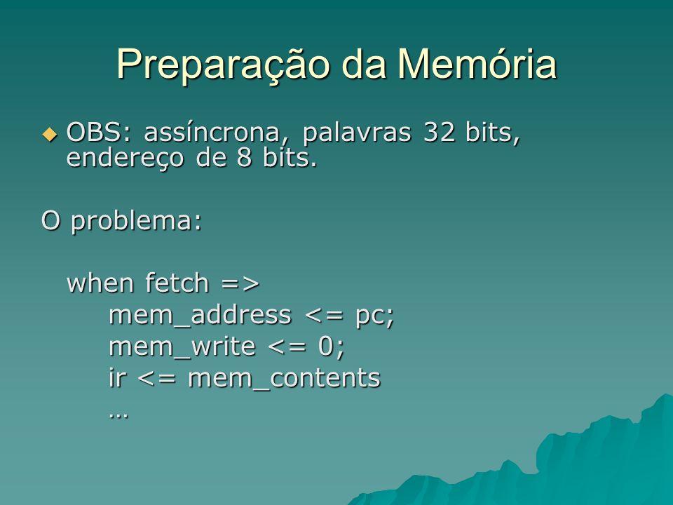Preparação da Memória OBS: assíncrona, palavras 32 bits, endereço de 8 bits.