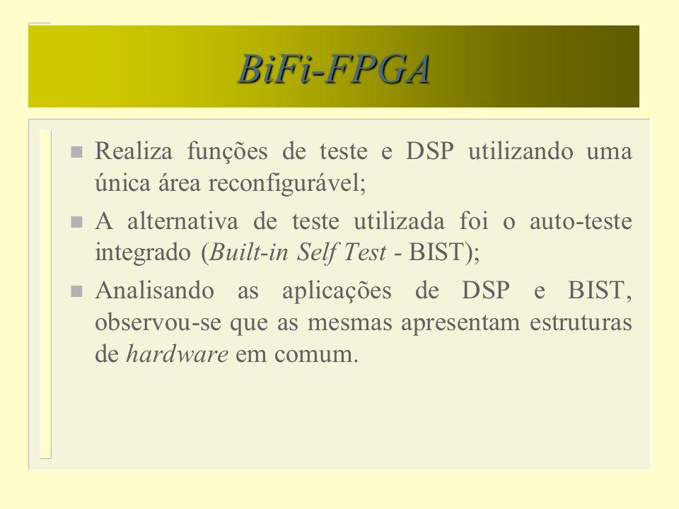 BiFi-FPGA n Realiza funções de teste e DSP utilizando uma única área reconfigurável; n A alternativa de teste utilizada foi o auto-teste integrado (Bu