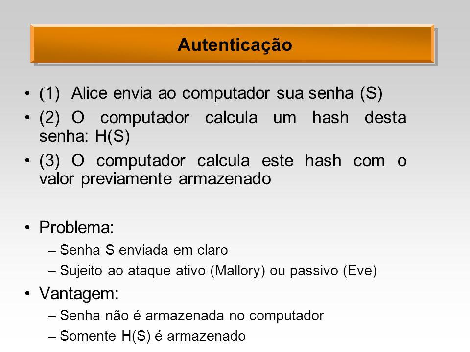 Autenticação ( 1)Alice envia ao computador sua senha (S) (2)O computador calcula um hash desta senha: H(S) (3)O computador calcula este hash com o val