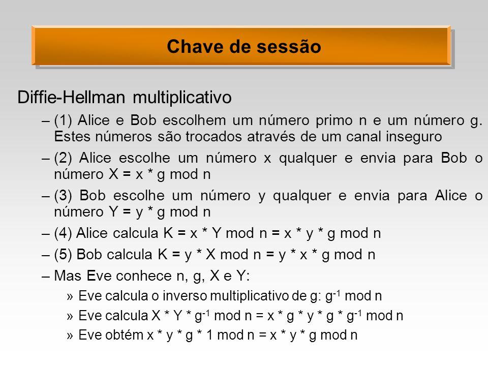 Chave de sessão Diffie-Hellman multiplicativo –(1) Alice e Bob escolhem um número primo n e um número g. Estes números são trocados através de um cana
