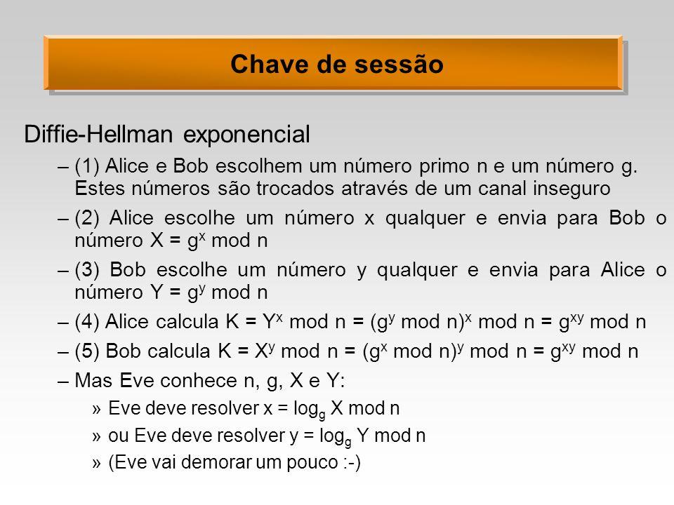 Chave de sessão Diffie-Hellman exponencial –(1) Alice e Bob escolhem um número primo n e um número g. Estes números são trocados através de um canal i