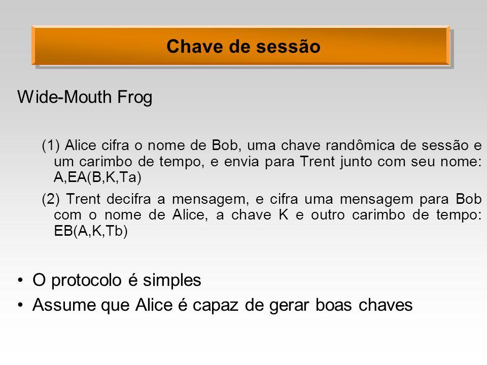 Chave de sessão Wide-Mouth Frog (1) Alice cifra o nome de Bob, uma chave randômica de sessão e um carimbo de tempo, e envia para Trent junto com seu n