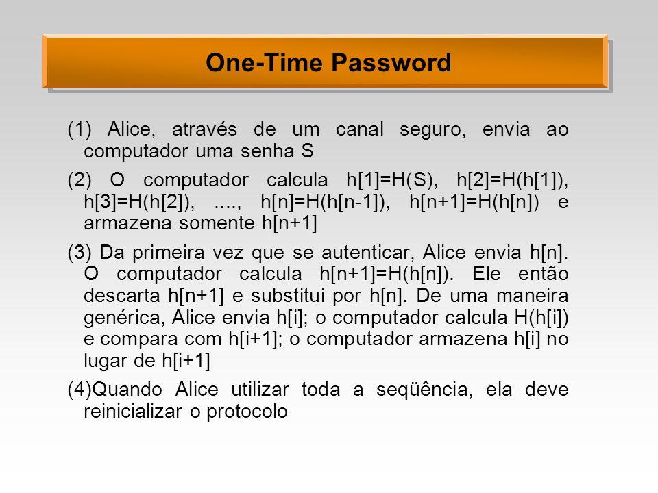 One-Time Password (1) Alice, através de um canal seguro, envia ao computador uma senha S (2) O computador calcula h[1]=H(S), h[2]=H(h[1]), h[3]=H(h[2]