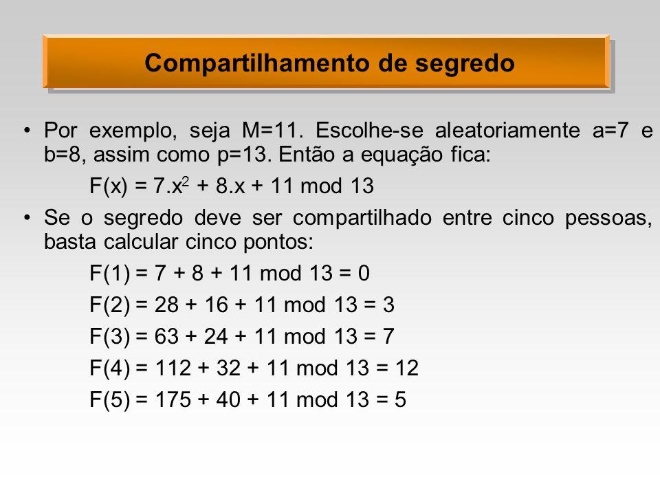 Compartilhamento de segredo Por exemplo, seja M=11. Escolhe-se aleatoriamente a=7 e b=8, assim como p=13. Então a equação fica: F(x) = 7.x 2 + 8.x + 1