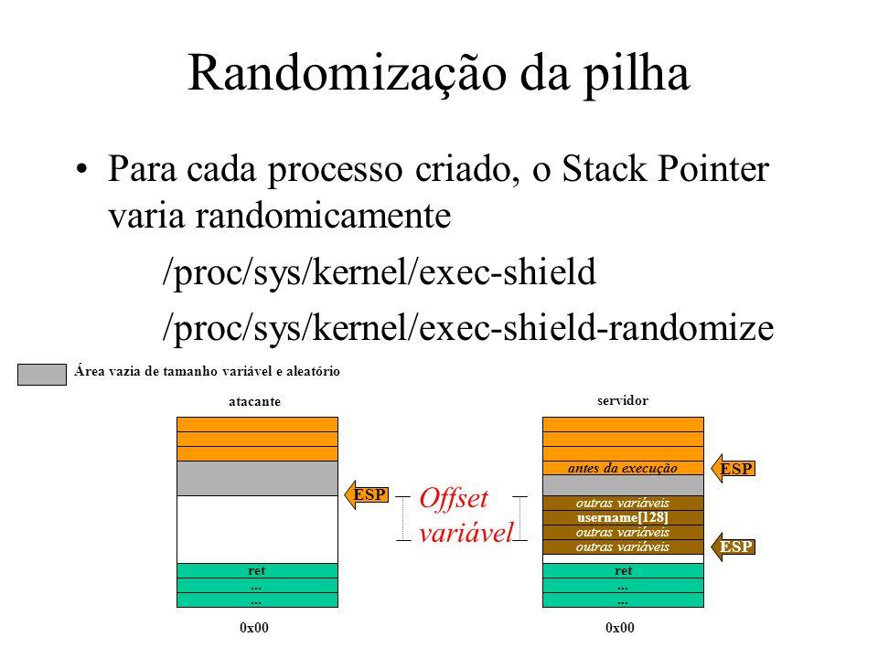 Randomização da pilha Para cada processo criado, o Stack Pointer varia randomicamente /proc/sys/kernel/exec-shield /proc/sys/kernel/exec-shield-randomize Offset variável...