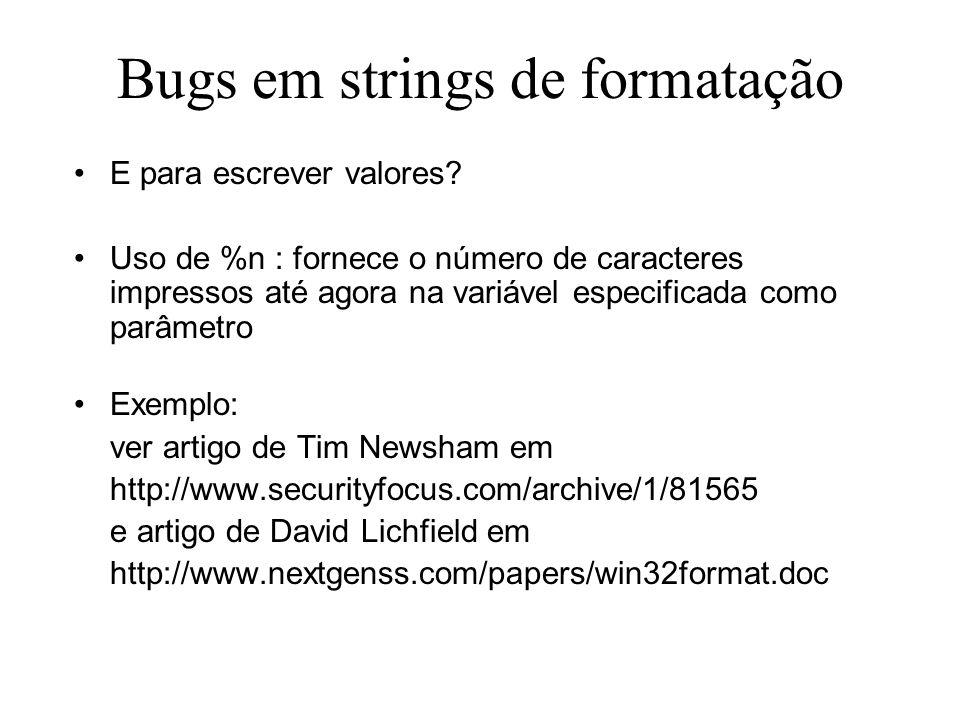 Bugs em strings de formatação E para escrever valores.