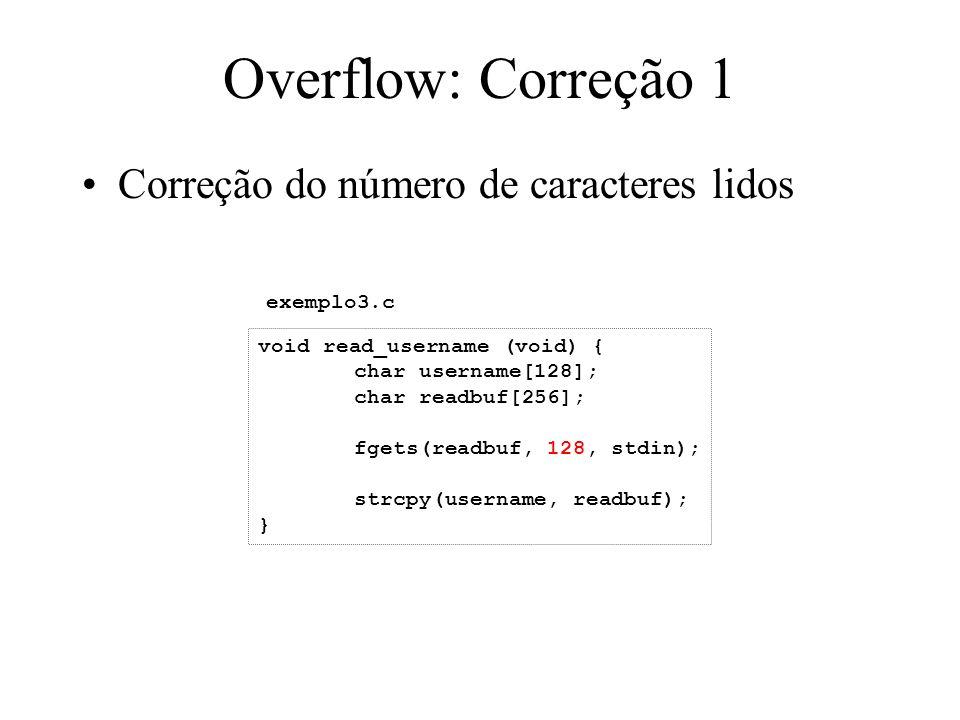 Overflow por-um Dados (fornecidos pelo usuário) saved_EBP saved_EIP Retorno da próxima função:mov esp, ebp ESP desliza na memória (seu byte inferior foi zerado) para a área de dados.