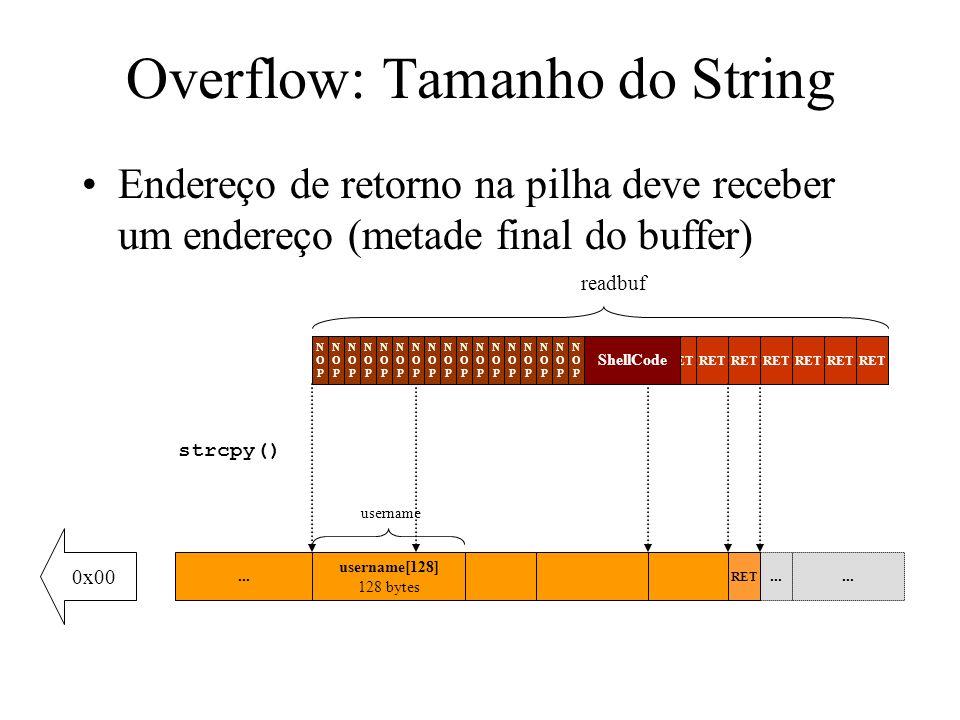 Heap Overflow: Win2k Fazendo um overflow no primeiro bloco, pode-se sobre-escrever o segundo bloco de controle +0 +32 +64 Block A control data Block B control data Memory Block A Memory Block B Uninteresting memory