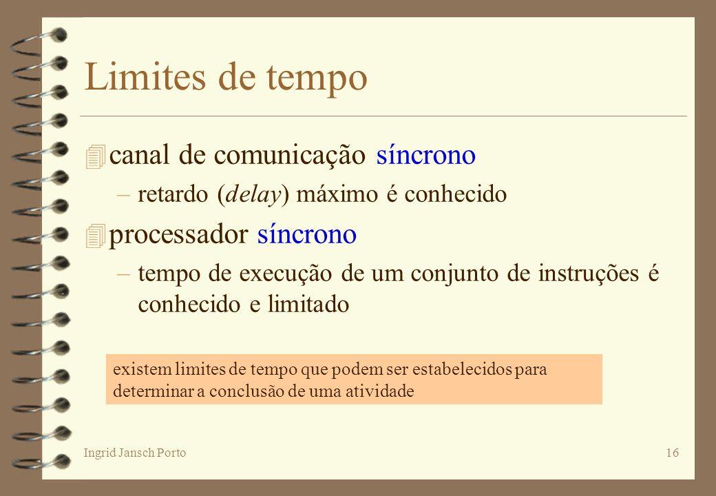 Ingrid Jansch Porto16 Limites de tempo 4 canal de comunicação síncrono –retardo (delay) máximo é conhecido 4 processador síncrono –tempo de execução d