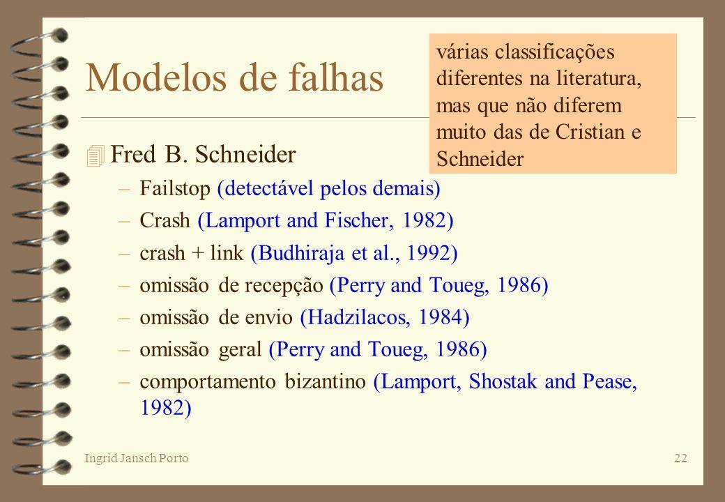 Ingrid Jansch Porto22 Modelos de falhas 4 Fred B. Schneider –Failstop (detectável pelos demais) –Crash (Lamport and Fischer, 1982) –crash + link (Budh