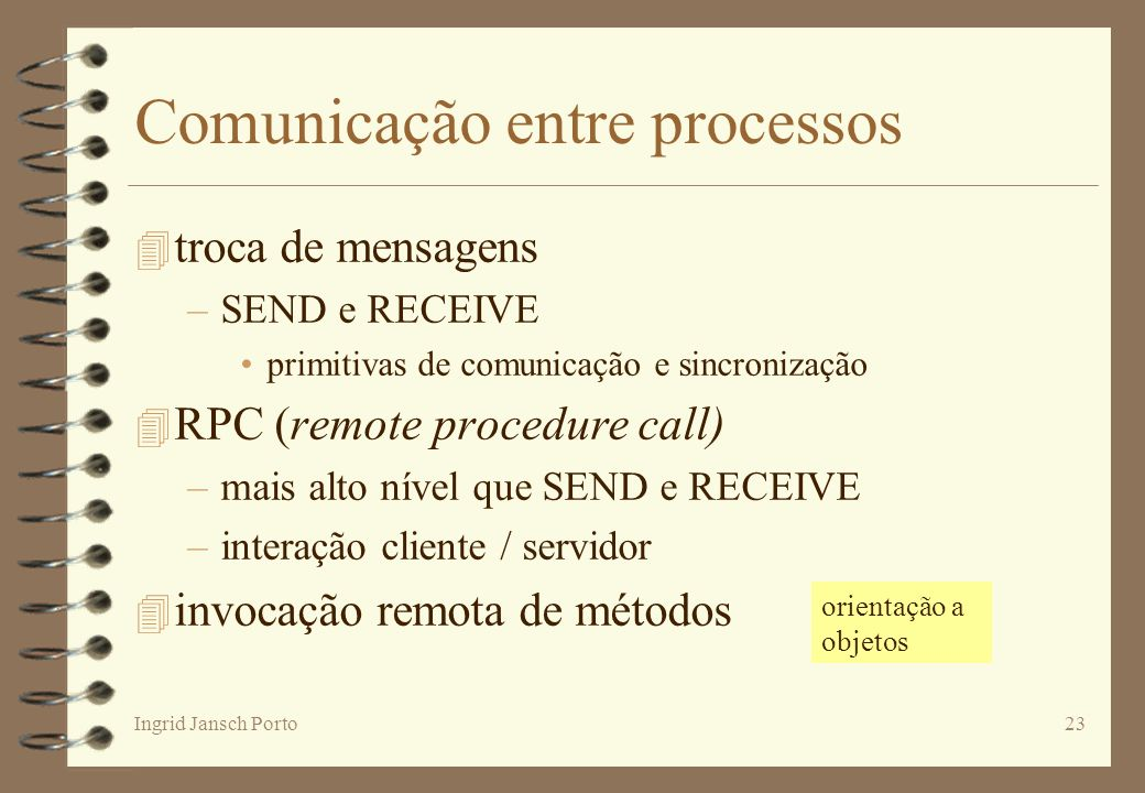 Ingrid Jansch Porto23 Comunicação entre processos 4 troca de mensagens –SEND e RECEIVE primitivas de comunicação e sincronização 4 RPC (remote procedu