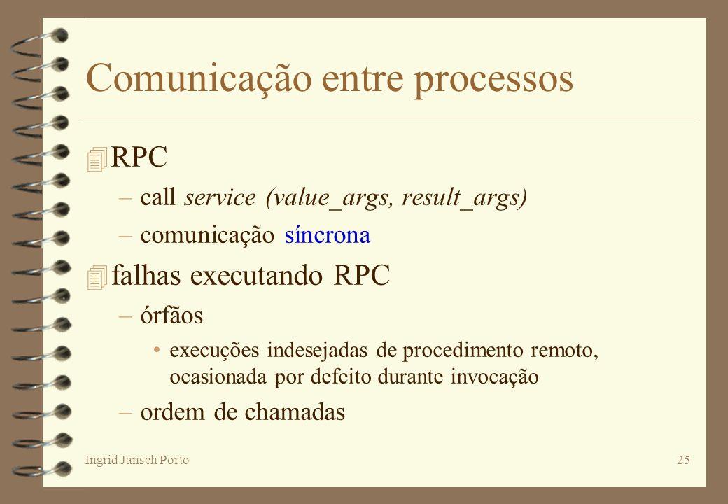 Ingrid Jansch Porto25 Comunicação entre processos 4 RPC –call service (value_args, result_args) –comunicação síncrona 4 falhas executando RPC –órfãos