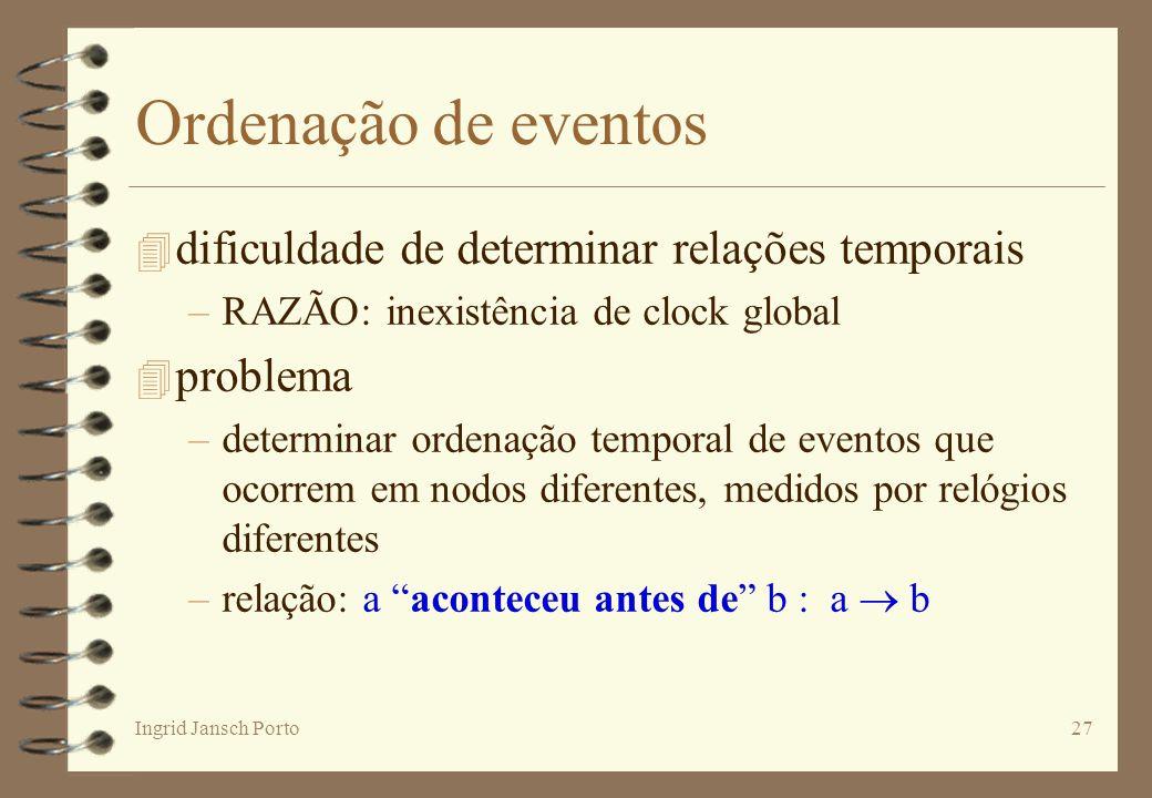 Ingrid Jansch Porto27 Ordenação de eventos 4 dificuldade de determinar relações temporais –RAZÃO: inexistência de clock global 4 problema –determinar