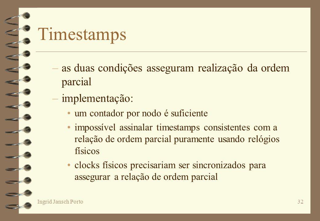 Ingrid Jansch Porto32 Timestamps –as duas condições asseguram realização da ordem parcial –implementação: um contador por nodo é suficiente impossível