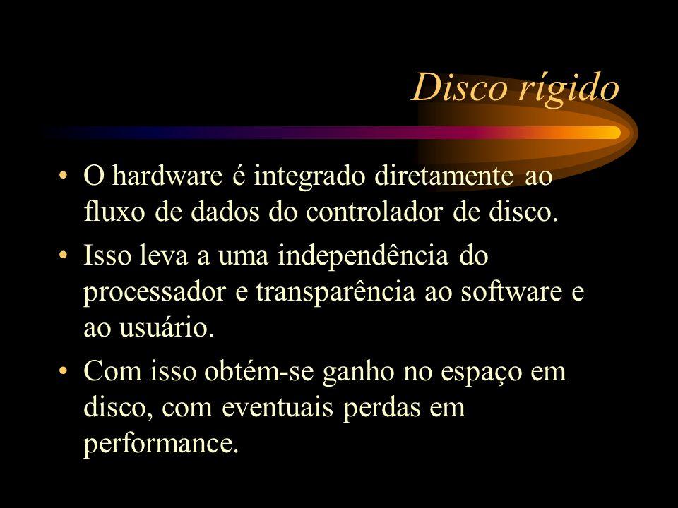 Disco rígido O hardware é integrado diretamente ao fluxo de dados do controlador de disco. Isso leva a uma independência do processador e transparênci