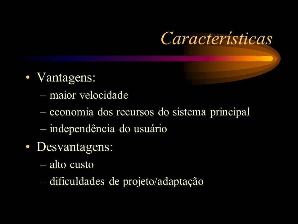Características Vantagens: –maior velocidade –economia dos recursos do sistema principal –independência do usuário Desvantagens: –alto custo –dificuld