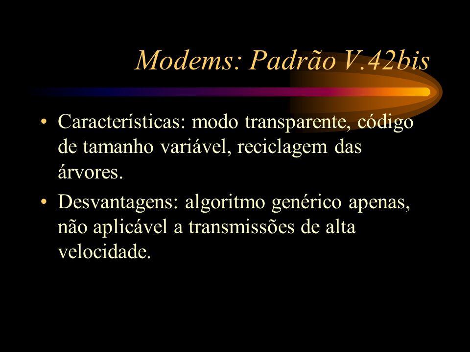 Modems: Padrão V.42bis Características: modo transparente, código de tamanho variável, reciclagem das árvores. Desvantagens: algoritmo genérico apenas