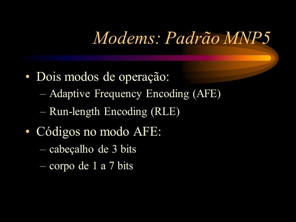 Modems: Padrão MNP5 Dois modos de operação: –Adaptive Frequency Encoding (AFE) –Run-length Encoding (RLE) Códigos no modo AFE: –cabeçalho de 3 bits –c