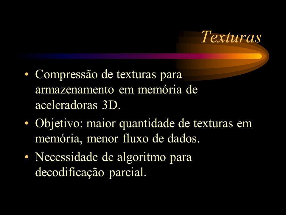 Texturas Compressão de texturas para armazenamento em memória de aceleradoras 3D. Objetivo: maior quantidade de texturas em memória, menor fluxo de da