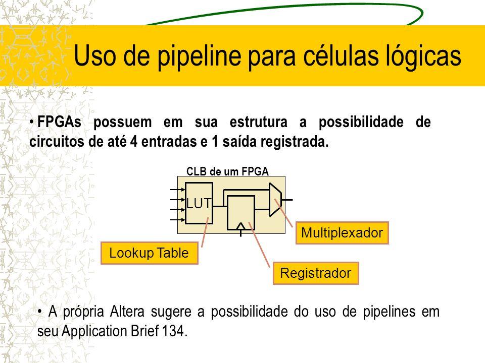 AiAi AiAi R R BjBj BjBj S R SkSk SkSk AiAi AiAi R SC SC Blocos Básicos do Multiplicador 1 LE para cada operação; 1 LE para cada registro; Soma c/ C Soma c/ C e Prop A Registra S Propagação do carry Propagação da Soma Registra S e B Soma s/ C B1B1 B2B2 B3B3 B0B0 A0A0 A1A1 A2A2 A3A3 A1A1 A2A2 A3A3 A0A0 A1A1