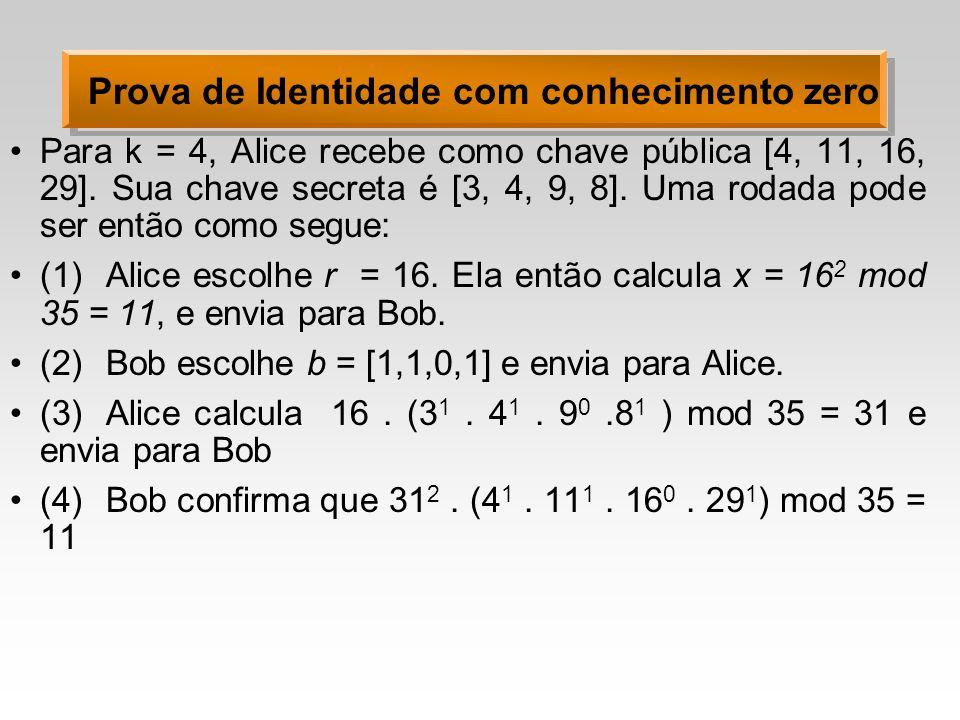 Prova de Identidade com conhecimento zero Para k = 4, Alice recebe como chave pública [4, 11, 16, 29].