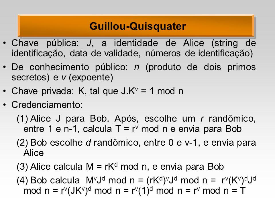 Guillou-Quisquater Chave pública: J, a identidade de Alice (string de identificação, data de validade, números de identificação) De conhecimento público: n (produto de dois primos secretos) e v (expoente) Chave privada: K, tal que J.K v = 1 mod n Credenciamento: (1)Alice J para Bob.