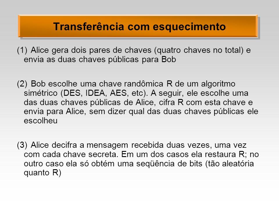 Transferência com esquecimento (1)Alice gera dois pares de chaves (quatro chaves no total) e envia as duas chaves públicas para Bob (2)Bob escolhe uma chave randômica R de um algoritmo simétrico (DES, IDEA, AES, etc).