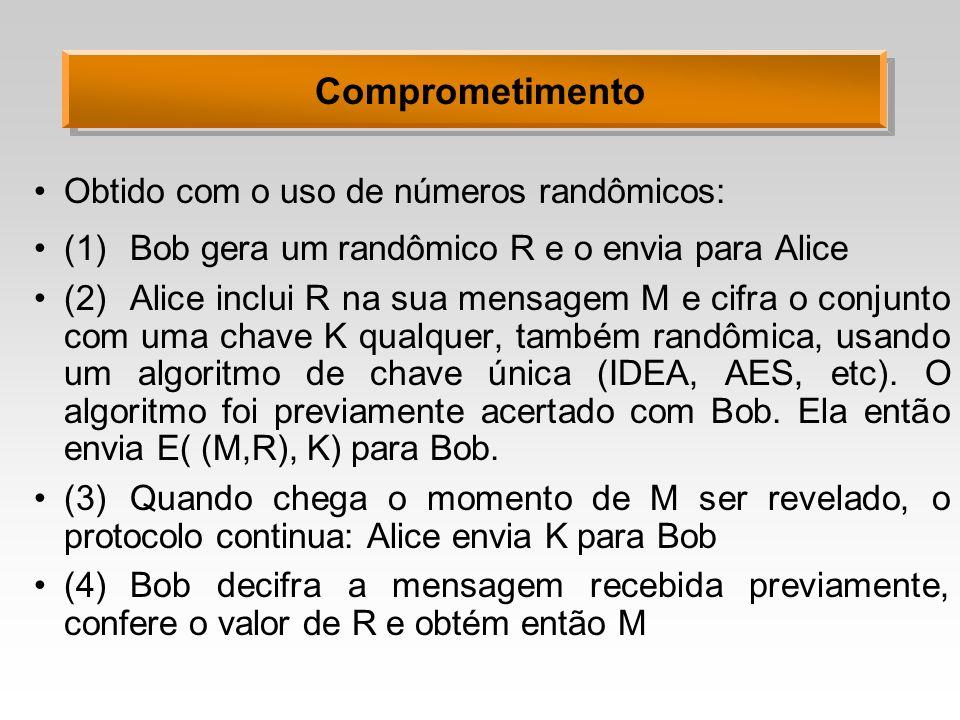 Comprometimento Obtido com o uso de números randômicos: (1)Bob gera um randômico R e o envia para Alice (2)Alice inclui R na sua mensagem M e cifra o conjunto com uma chave K qualquer, também randômica, usando um algoritmo de chave única (IDEA, AES, etc).