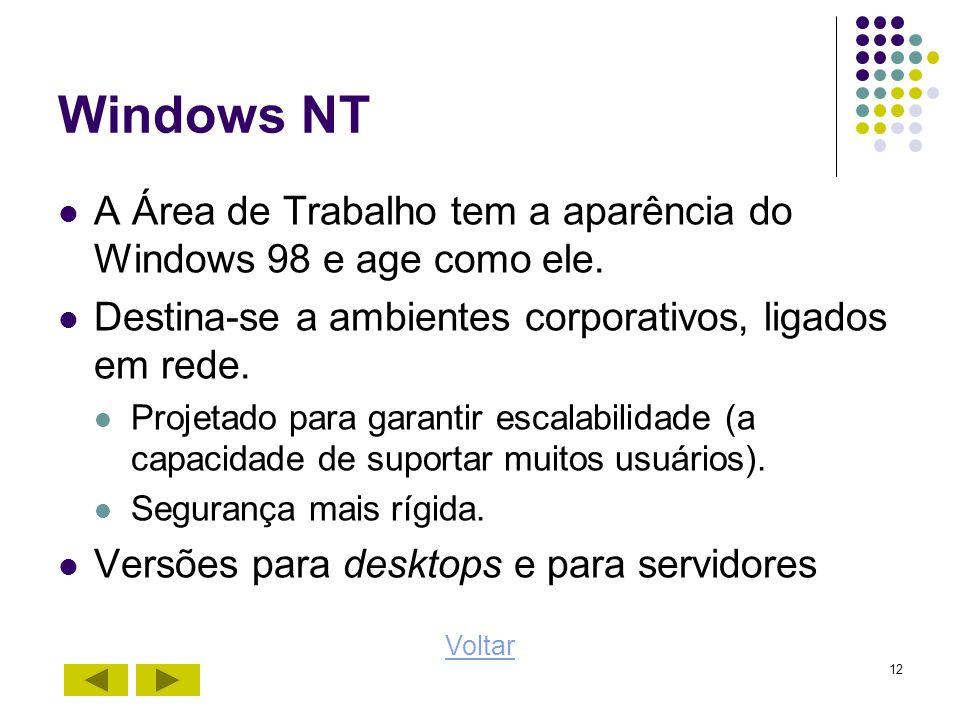 12 Windows NT A Área de Trabalho tem a aparência do Windows 98 e age como ele. Destina-se a ambientes corporativos, ligados em rede. Projetado para ga