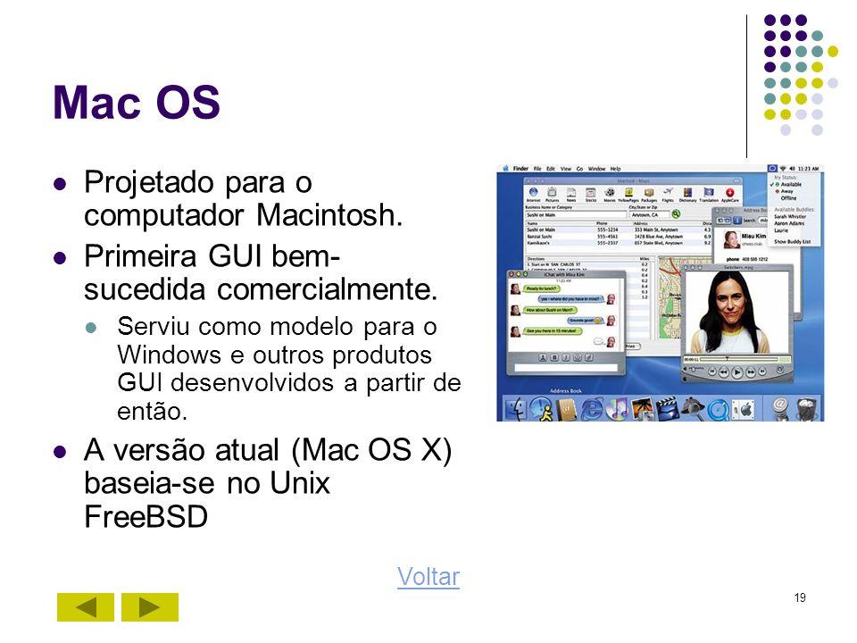 19 Mac OS Projetado para o computador Macintosh. Primeira GUI bem- sucedida comercialmente. Serviu como modelo para o Windows e outros produtos GUI de