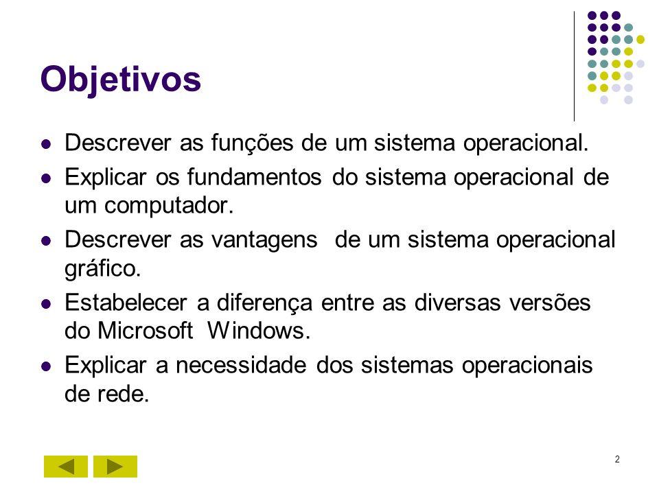 2 Objetivos Descrever as funções de um sistema operacional. Explicar os fundamentos do sistema operacional de um computador. Descrever as vantagens de