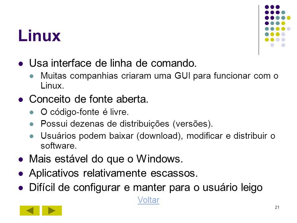 21 Linux Usa interface de linha de comando. Muitas companhias criaram uma GUI para funcionar com o Linux. Conceito de fonte aberta. O código-fonte é l
