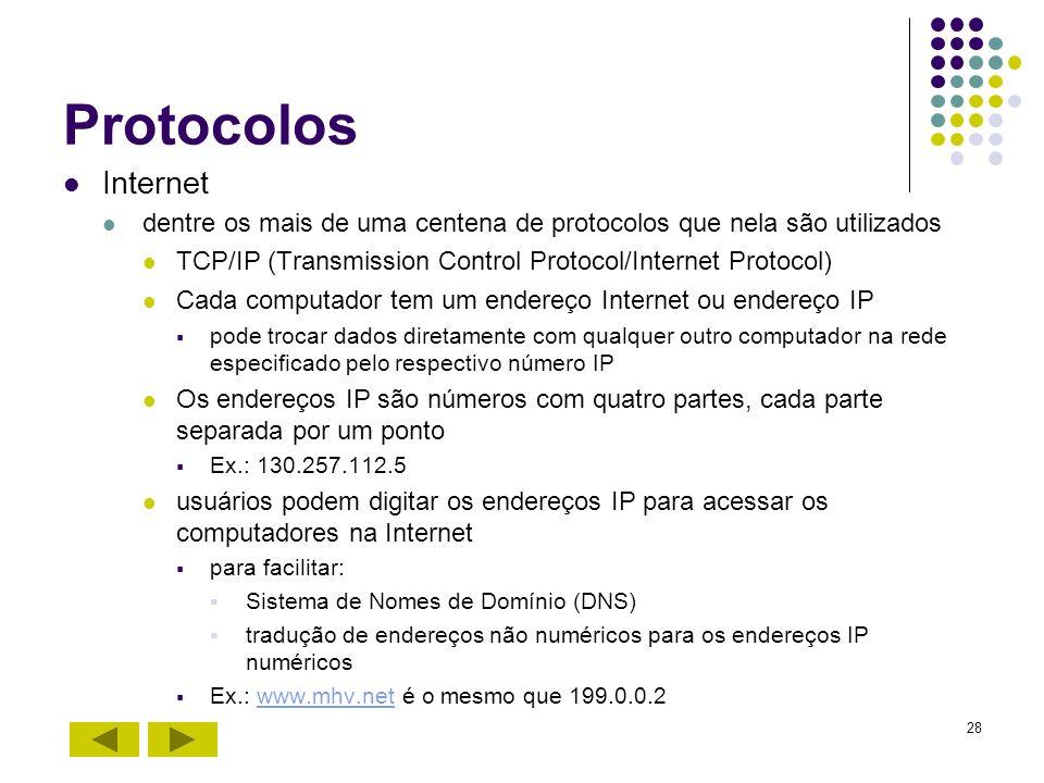 28 Protocolos Internet dentre os mais de uma centena de protocolos que nela são utilizados TCP/IP (Transmission Control Protocol/Internet Protocol) Ca
