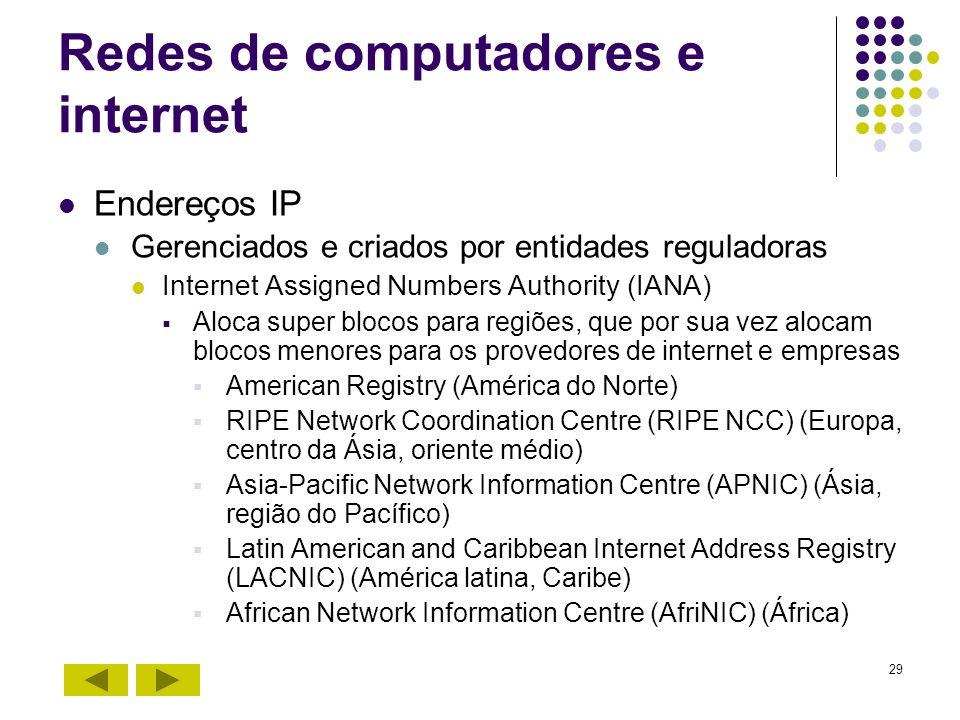29 Redes de computadores e internet Endereços IP Gerenciados e criados por entidades reguladoras Internet Assigned Numbers Authority (IANA) Aloca supe