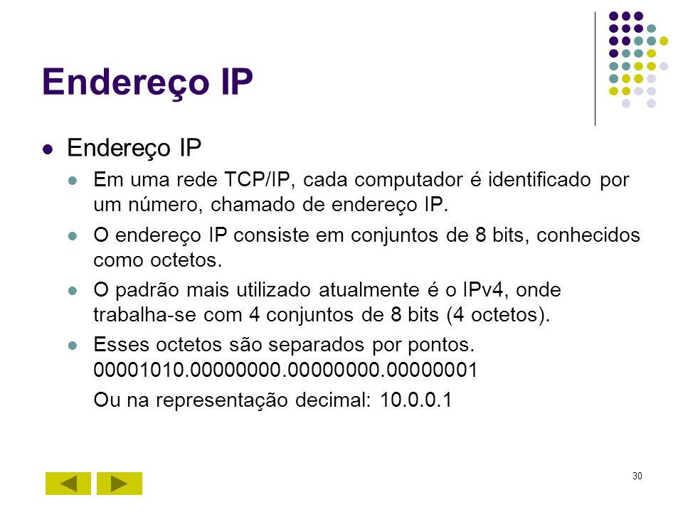 30 Endereço IP Em uma rede TCP/IP, cada computador é identificado por um número, chamado de endereço IP. O endereço IP consiste em conjuntos de 8 bits