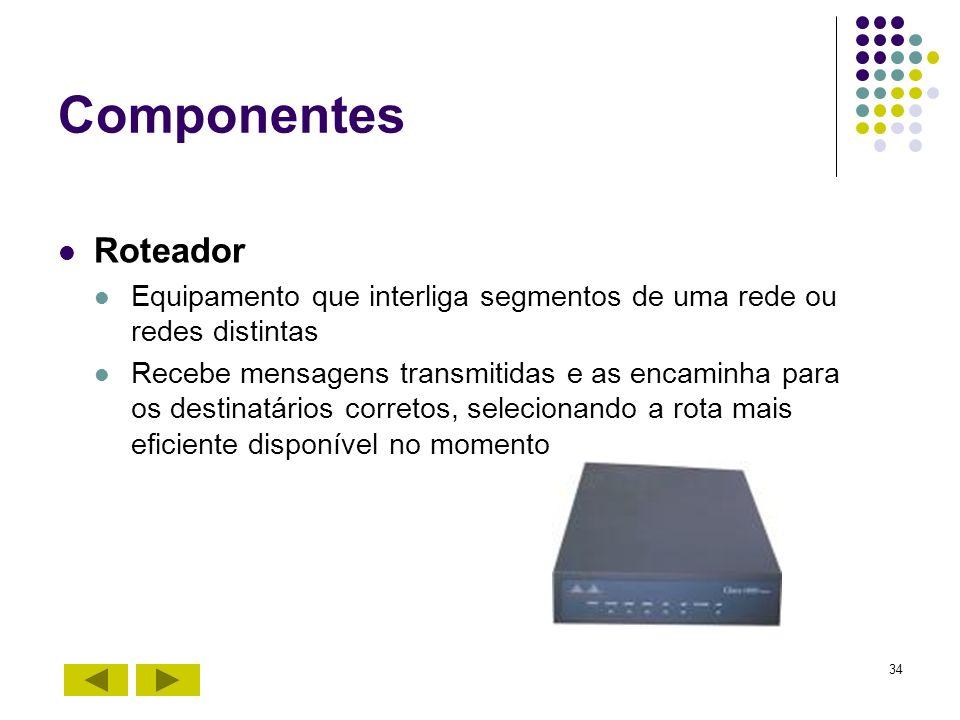 34 Componentes Roteador Equipamento que interliga segmentos de uma rede ou redes distintas Recebe mensagens transmitidas e as encaminha para os destin