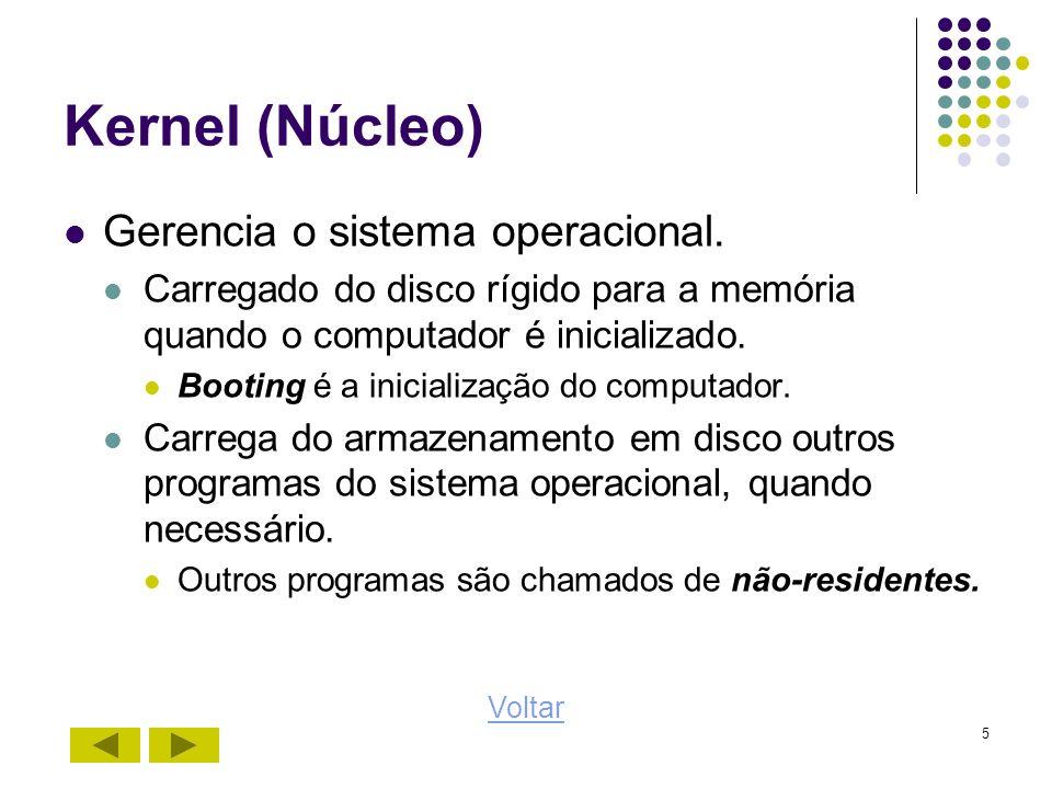 5 Kernel (Núcleo) Gerencia o sistema operacional. Carregado do disco rígido para a memória quando o computador é inicializado. Booting é a inicializaç