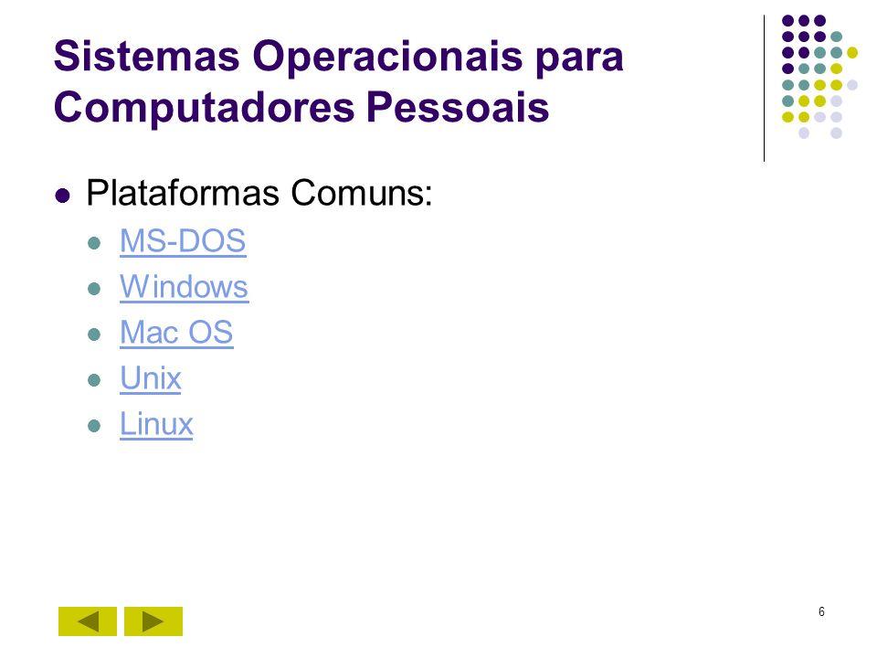 6 Sistemas Operacionais para Computadores Pessoais Plataformas Comuns: MS-DOS Windows Mac OS Unix Linux