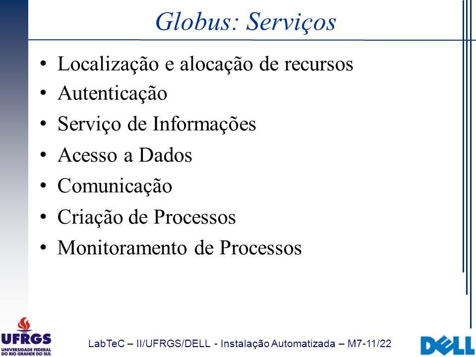 LabTeC – II/UFRGS/DELL - Instalação Automatizada – M7-11/22 Globus: Serviços Localização e alocação de recursos Autenticação Serviço de Informações Ac