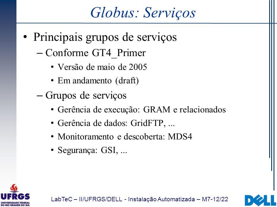 LabTeC – II/UFRGS/DELL - Instalação Automatizada – M7-12/22 Globus: Serviços Principais grupos de serviços – Conforme GT4_Primer Versão de maio de 200