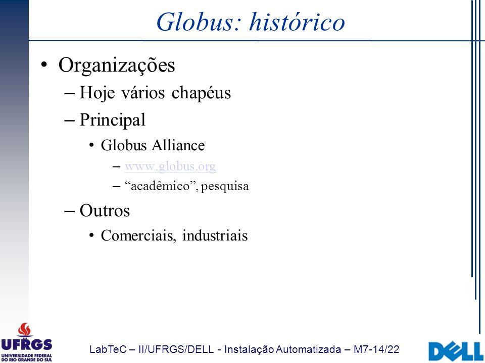 LabTeC – II/UFRGS/DELL - Instalação Automatizada – M7-14/22 Globus: histórico Organizações – Hoje vários chapéus – Principal Globus Alliance – www.glo