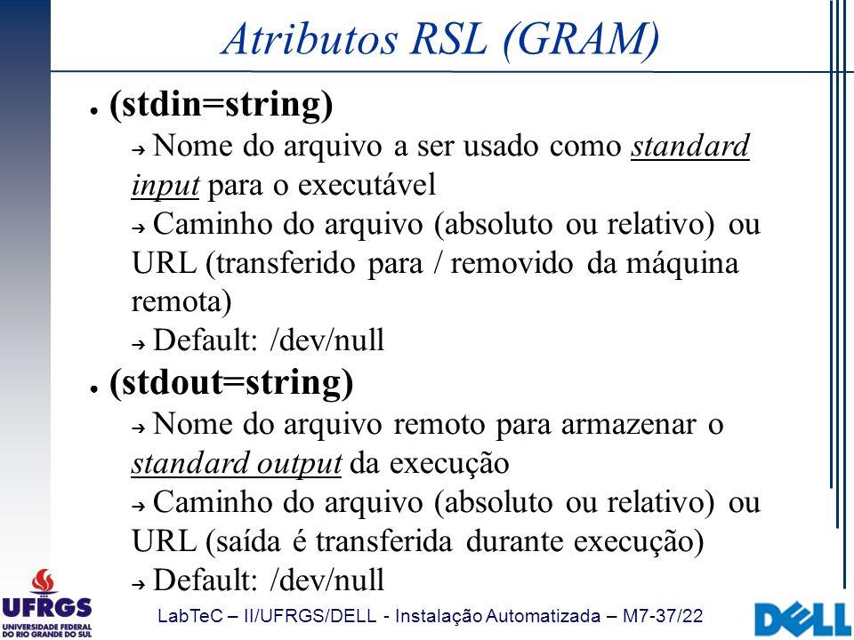 LabTeC – II/UFRGS/DELL - Instalação Automatizada – M7-37/22 Atributos RSL (GRAM) (stdin=string) Nome do arquivo a ser usado como standard input para o