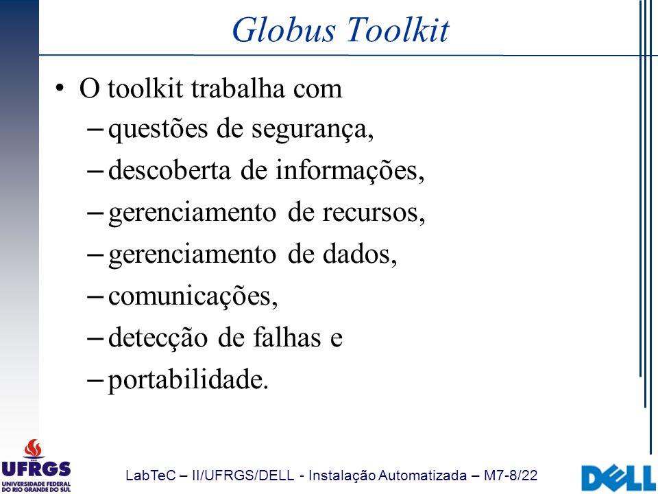 LabTeC – II/UFRGS/DELL - Instalação Automatizada – M7-8/22 Globus Toolkit O toolkit trabalha com – questões de segurança, – descoberta de informações,