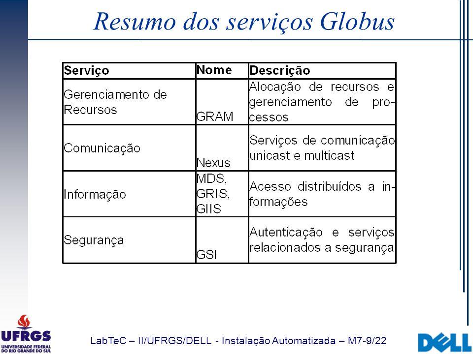 LabTeC – II/UFRGS/DELL - Instalação Automatizada – M7-50/22 Atributos RSL (GRAM) (remote_io_url= ) Salva a URL informada em um arquivo e coloca a variável GLOBUS_REMOTE_IO_URL= no ambiente do job Se especificado na reinicialização do job (restart), atualiza o conteúdo do arquivo Utilizando a variável, o job pode ler o conteúdo do arquivo para obter a URL, que pode variar entre diferentes reinicializações do job Default: nenhum