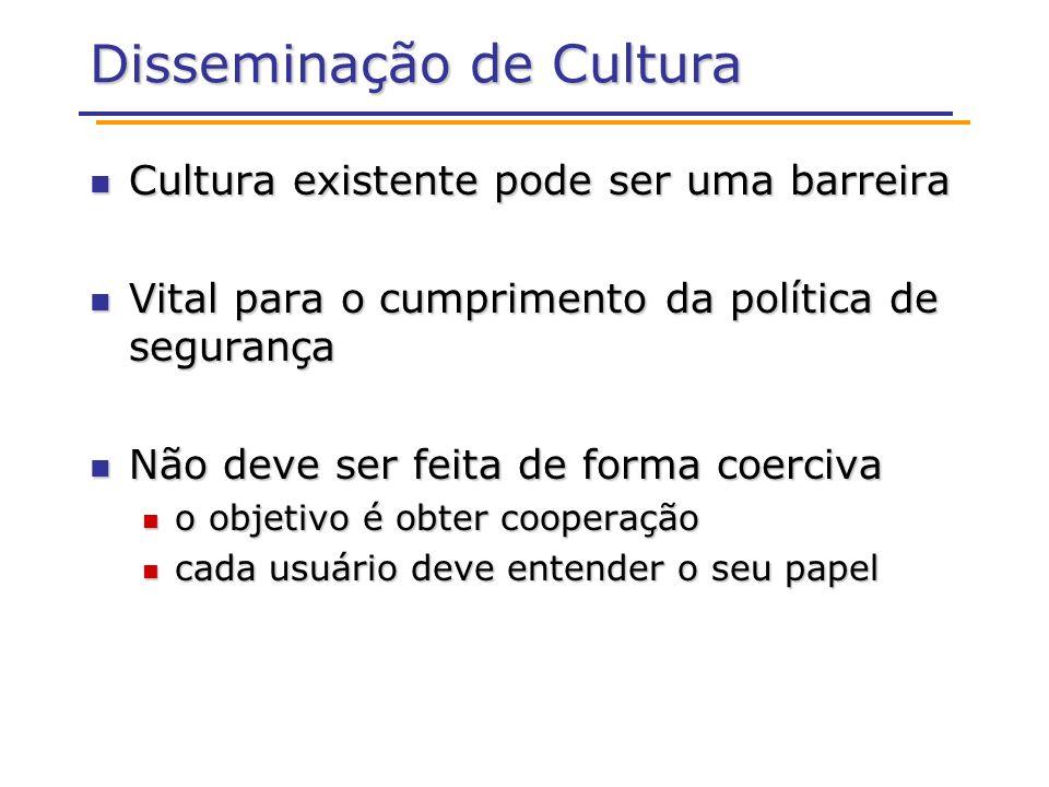 Disseminação de Cultura Cultura existente pode ser uma barreira Cultura existente pode ser uma barreira Vital para o cumprimento da política de segura