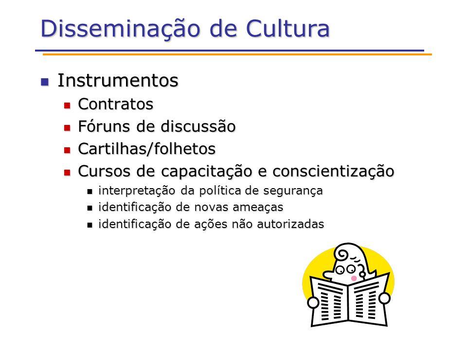 Disseminação de Cultura Instrumentos Instrumentos Contratos Contratos Fóruns de discussão Fóruns de discussão Cartilhas/folhetos Cartilhas/folhetos Cu