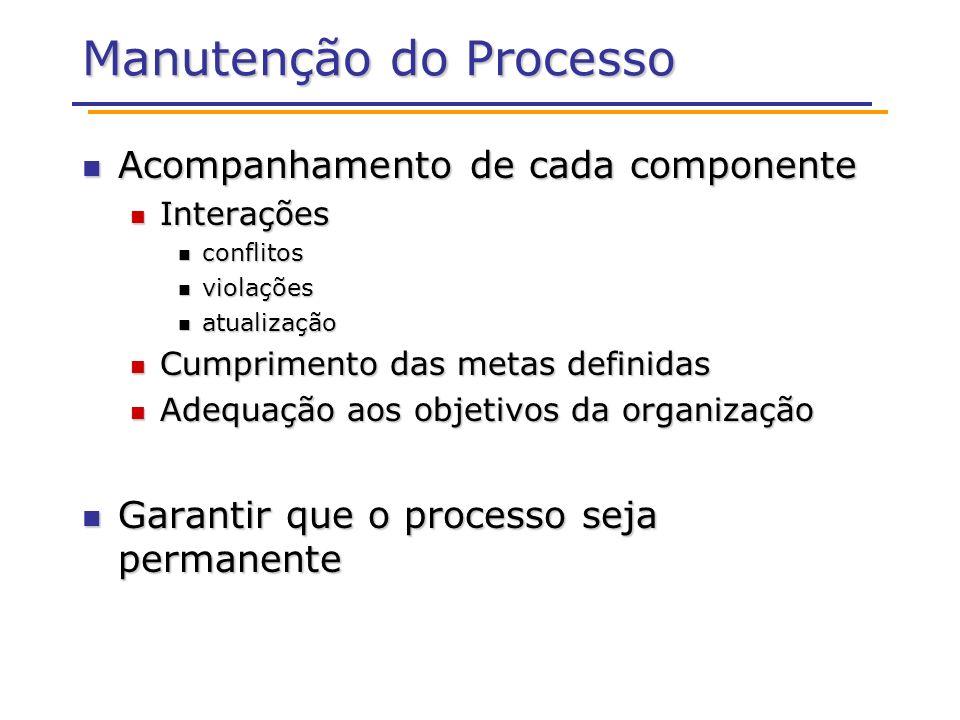 Manutenção do Processo Acompanhamento de cada componente Acompanhamento de cada componente Interações Interações conflitos conflitos violações violaçõ