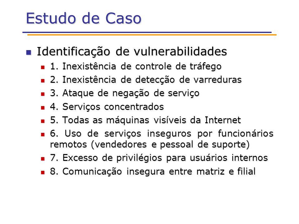 Estudo de Caso Identificação de vulnerabilidades Identificação de vulnerabilidades 1. Inexistência de controle de tráfego 1. Inexistência de controle