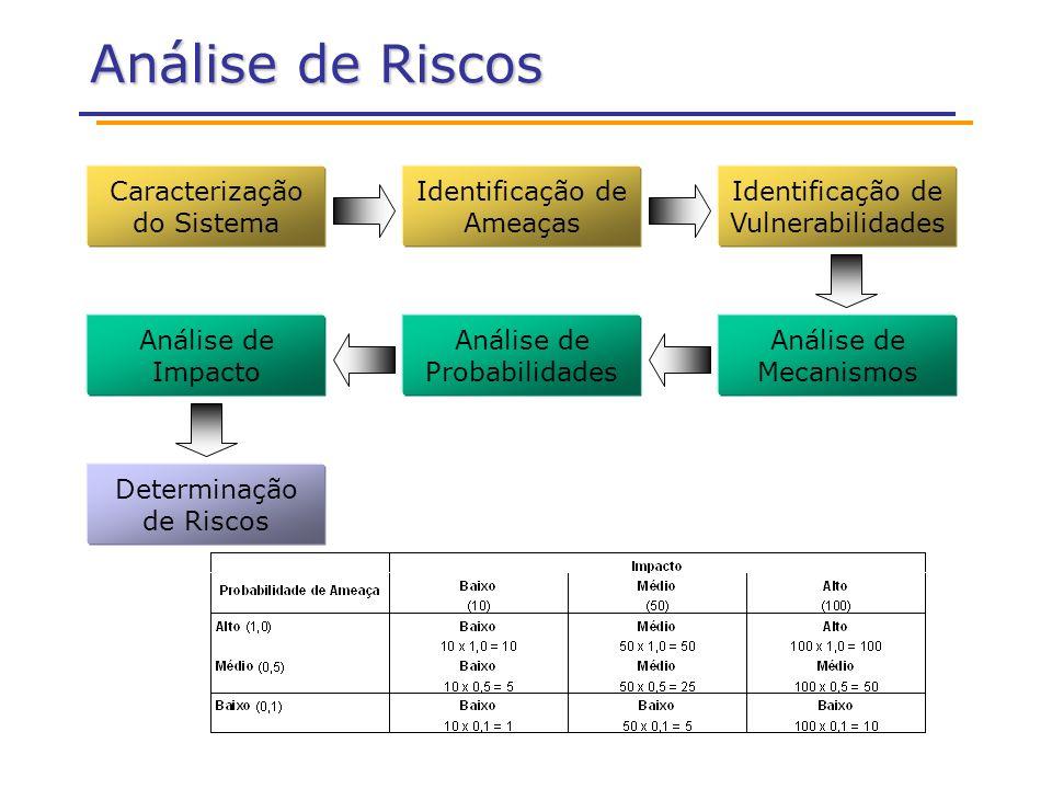 Análise de Riscos Caracterização do Sistema Identificação de Ameaças Identificação de Vulnerabilidades Análise de Probabilidades Análise de Mecanismos Análise de Impacto Determinação de Riscos